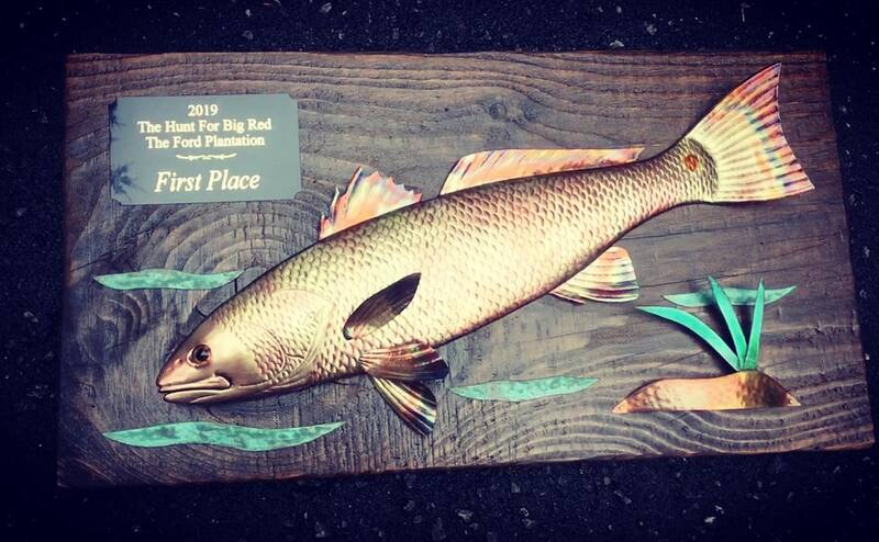 copper art fishing trophy redfish