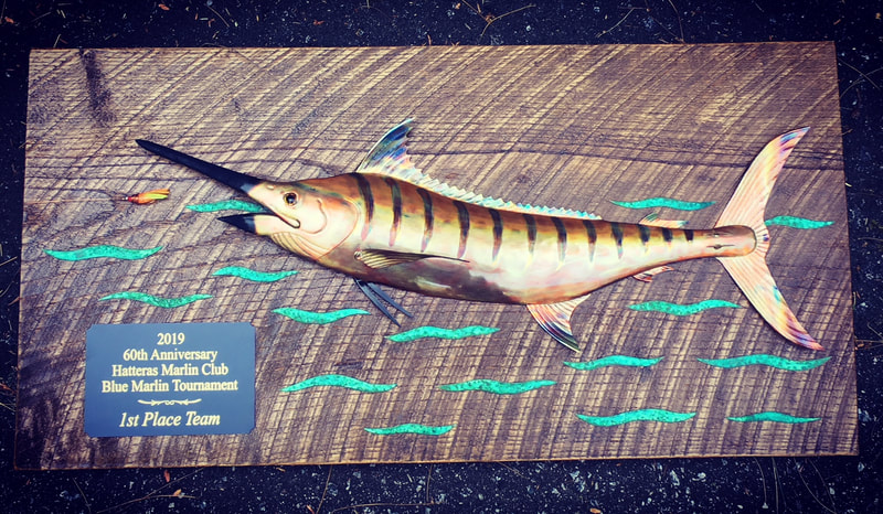 copper art fish blue marlin trophy