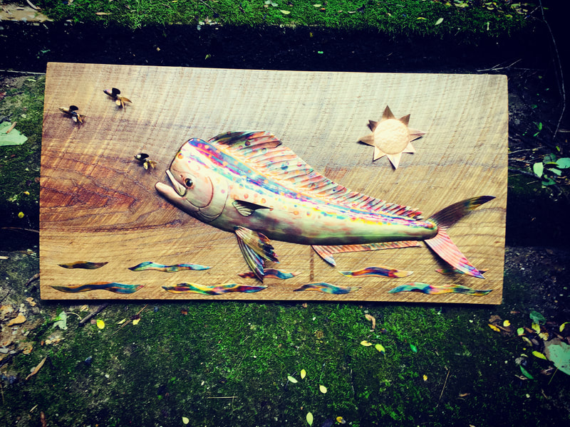 copper art fish trophy mahi mahi